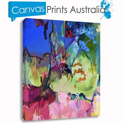 Abstract Art On Stretched Canvas Print Wall Prints Multi Color Beautiful Blue
