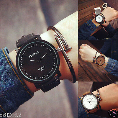 Fashion Mens Women's Casual Retro Watches Leather Band Analog Quartz Wrist Watch