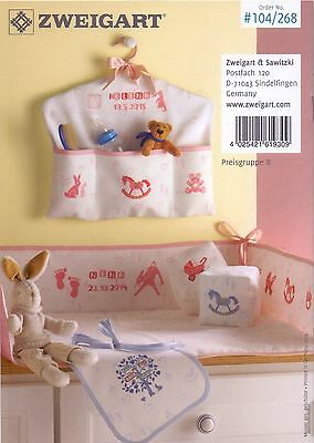 14 Count Zweigart Baby Pink Patterned Aida size 49 x 54cm & Baby Ideas Booklet