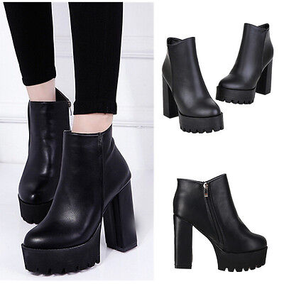 Women Winter Platform Ankle Boots High Heel  Chunky Leather Shoes Zipper Black