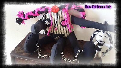 Penny The Lil Monster Handmade  Gothic Rag Doll,  Ooak Doll, Collectors Doll,