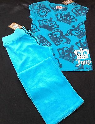 NWT Juicy Couture New Genuine Girls Age 8 Turquoise Tracksuit Pants & T.Shirt