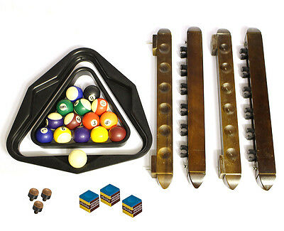 Pool Spares - Cue Racks (6 per rail), Chalk, Triangles & Mini Balls (1 missing)