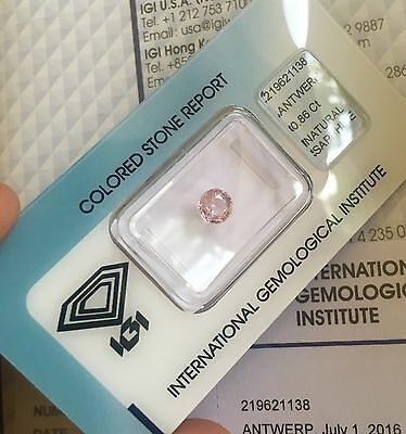 NATURAL Pink Sapphire 0.86ct TOP GRADE Round Diamond Cut IGI CERTIFIED Untreated
