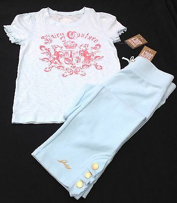 NWT Juicy Couture New Blue Soft Cotton Tracksuit Pants & T.Shirt Girls Age 8