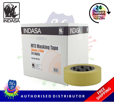 "Indasa Masking Tape MTE 36mm 1.5"" 24 Rolls Low Bake Automotive Grade"