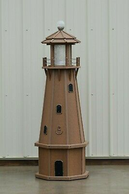 5' Octagon Electric and Solar Powered Polywood Lighthouse, Antique Mahogany