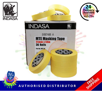 "Masking Tape Indasa MTE-24, 36 x 1"" (24mm) Rolls Low Bake Automotive Grade"