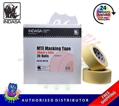 "Masking Tape Indasa MTE-48,2"" (48mm)  20 Rolls Low Bake Automotive Grade Tape"