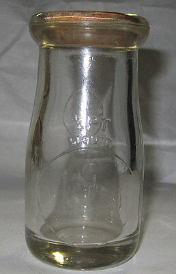 Antique 1/4 pint Milk Cream Bottle Impressed Glass Card Board Cap Nice Item