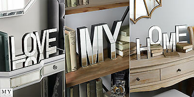 MY-LOVE-HOME Large mirrored freestanding or wall decorative letters – ideal gift