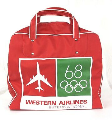 Vtg Western Airlines International 1968 Olympics Logo Red Carry On Luggage Bag
