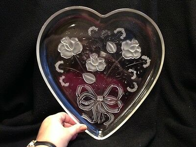 Mikasa Rose Bouquet Large Heart Shaped Crystal Serving Dish Germany