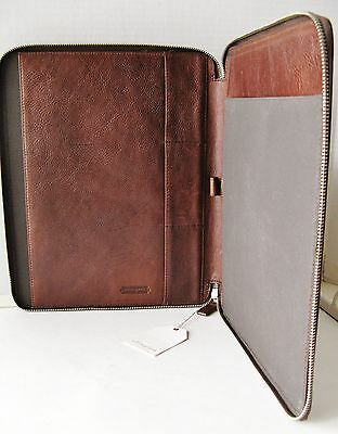 New – Authentic Ellington Leather Goods Brown Pebbled Leather Zippered Portfolio