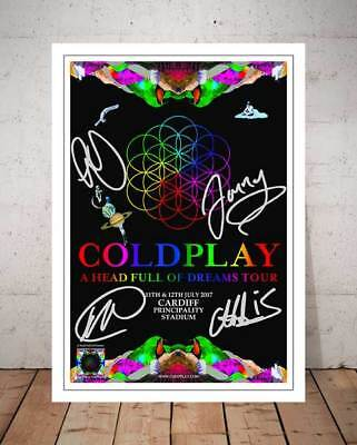 Coldplay A Head Full Of Dreams Cardiff 2017 Concert Flyer Autographed Print