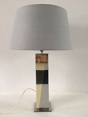 BIG Vintage 70's 80's hollywood regency chrome and messing table lamp, new shade