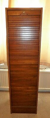 Vintage Mahogany Finish Tambour Roll Fronted Filing Cabinet