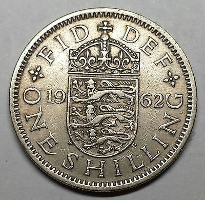 UK 1962 One Shilling coin Elizabeth II English crest   You Grade   FREE SHIPPING