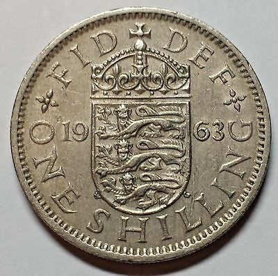 1963 UK One Shilling coin Elizabeth II English Crest You Grade