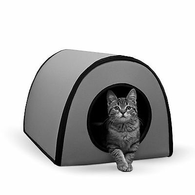 """NEW Cat House Heated Outdoor Kitty Bed Pet Warm Shelter Electric 21""""x13""""x15"""" Gry"""