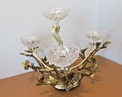 Dav Art N.y. Cast Metal Stunning Centerpiece With Cut Glass Bowls Very Heavy