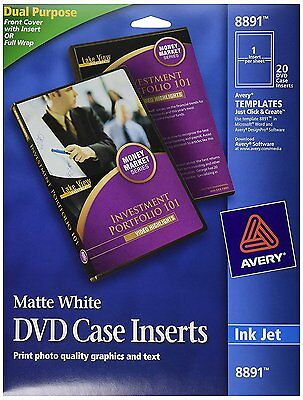 Avery DVD Case Inserts, Matte White, 20 Inserts 8891