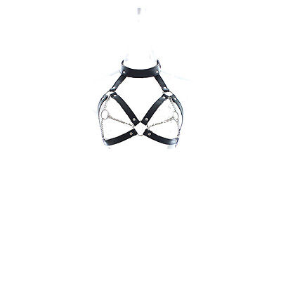 Sexy Leather Body Clubwear Women's Fetish Costume Bondage Open Cup Lingerie A
