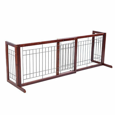 Free Standing Adjustable Indoor Hallway Staircase Deck Pet Dog Gate Wood Fence