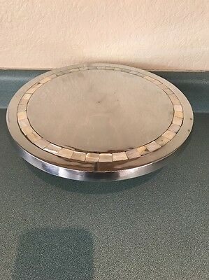 Towle Silversmith Serving Tray Mother of Pearl Inlay LG Silver Metal Platter VTG