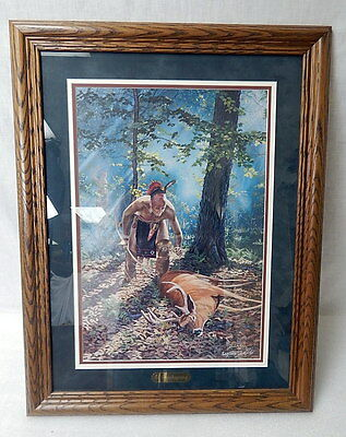 Jack Paluh Framed Signed Numbered Print In Thanksgiving American Indian Hunter