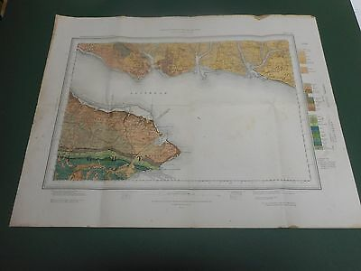100% Original Large Portsmouth Isle Of Wight  Geological Map O/s Sheet 331 C1897