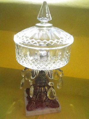 Antique Cut Glass Compote Candy Dish Baroque Rococo Pedestal Teardrop Prisms