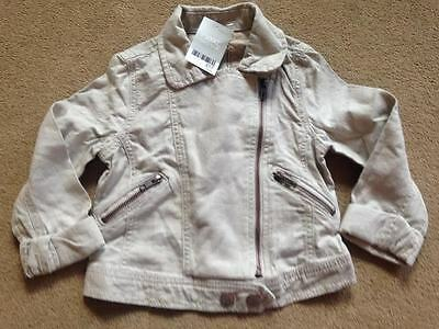 BNWT NEXT Girls Neutral Linen Blend Biker Jacket 6 Years