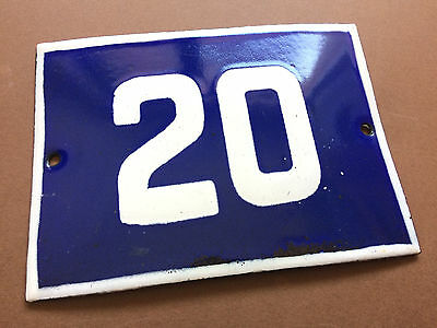 ANTIQUE VINTAGE ENAMEL SIGN HOUSE NUMBER 20 BLUE DOOR GATE STREET SIGN 1950's