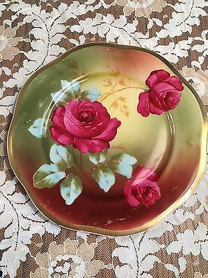 Antique  Royal Vienna Z.S. &C Mignon Bavaria Plate Red Rose W/Artist Sign 7 1/2""
