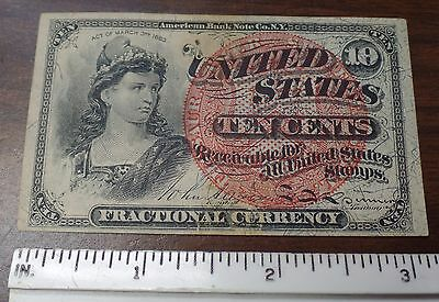 1863 10 (TEN) Cent Fractional Currency | USA | American Bank Note Co. 4-3-1863