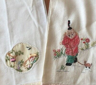 Vintage Embroidered Applique Linen Hand Towels Lot of 2 Asian Theme Hem Stitched