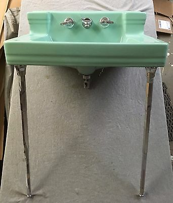 "Large 26"" Vtg Ceramic Jadeite Green Bathroom Sink Chrome Legs Standard 199-17E"