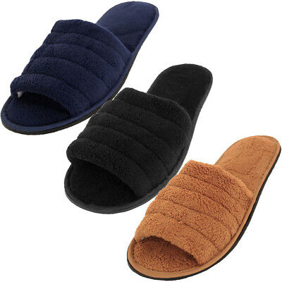 Mens Slippers Open Toe House Shoe Slip On Scuff Bath Soft Terry Cloth Flex Sole