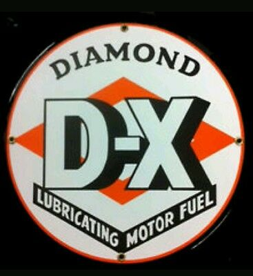 Diamond D-X Gasoline Oil Porcelain Advertising Sign
