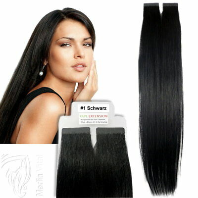 Tape In / On 100% Echthaar Remy Hair Extensions Haarverlängerung 2,5g Tresse #1