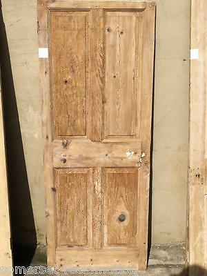 "26 1/2""X68"" Reclaimed Victorian Stripped Pine Four Panel 2 Over 2 Narrow Door"