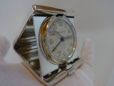 ANTIQUE TIFFANY & CO STERLING SILVER 8 DAY TRAVEL ALARM CLOCK (Watch video)