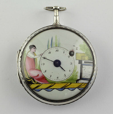 Prächtige Empire Silber email Spindeluhr Enamel Verge Fusee pocket watch montre