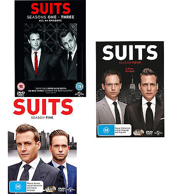 "Suits Series complete season 1, 2, 3, 4 & 5 DVD Box Set R4 New ""on sale"""