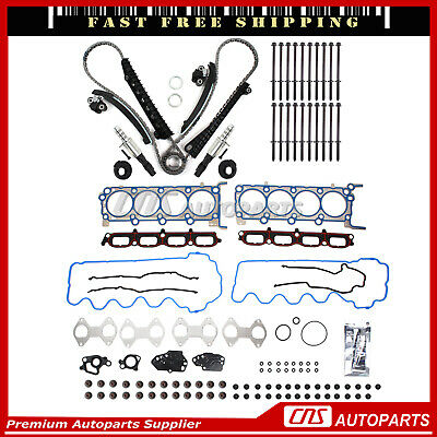 04-08 Ford Lincoln 5.4L 3V Timing Chain Kit Cam Phaser Water Oil Pump