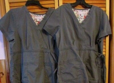 KOI by Kathy Peterson medical Uniform Tops Size XL Gray Lot of 2 scrub tops used