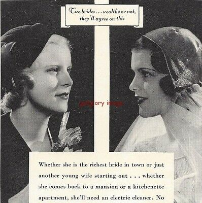 1932 Hoover Electric Vacuum Cleaner 2 Vintage Print Ads Two Brides, Two Speeds