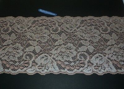 2 metres  of   Peach /Cream   Pretty Glitter    Stretch  lace    14 cm  Wide