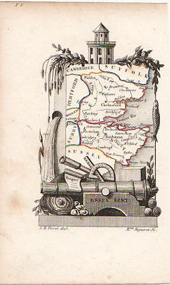Antique Miniature Map of Essex & Kent by Perrot. French, Hand Colored. 1823.